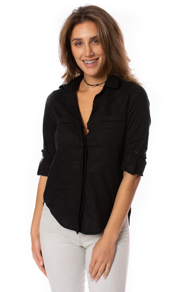 Velvet Heart - Riley Collared Button Up Sleeve Shirt (2UI-2931N, Black)