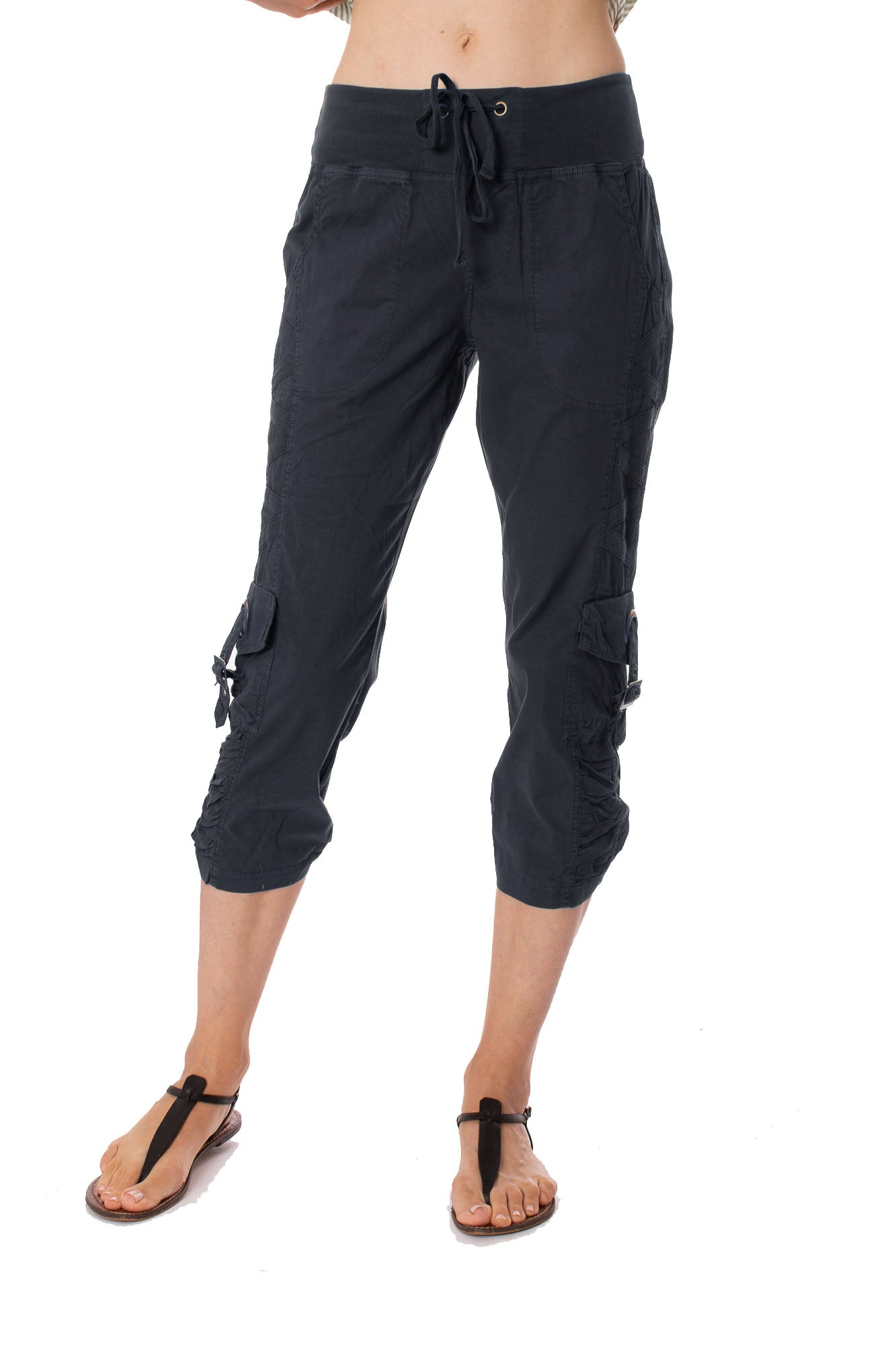 XCVI - Variete Cargo Pocket Crop Strirg Pop (20755W, Navy)