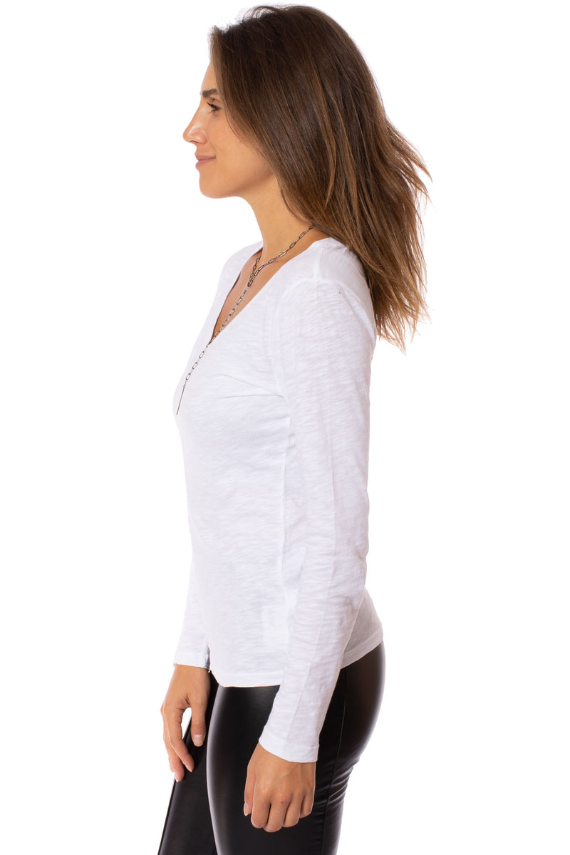 Bobi - Long Sleeve V Neck (54A-26185, White)