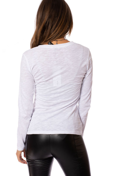 Bobi - Long Sleeve V Neck (54A-26185, White) alt view 2