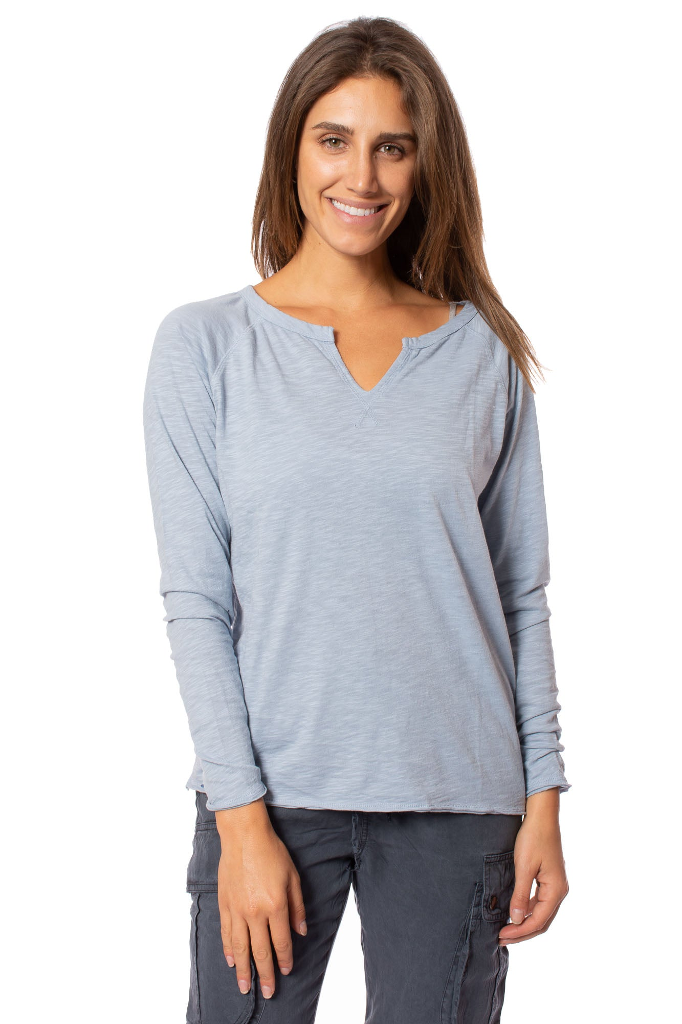 Bobi - Split Neck Raglan (54A-36119, Light Sky Blue)