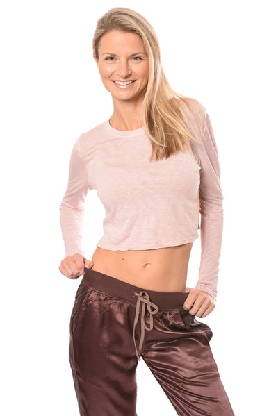 Hard Tail Forever - Long Sleeve Crop Top (SLUB-37, Crushed Rose)