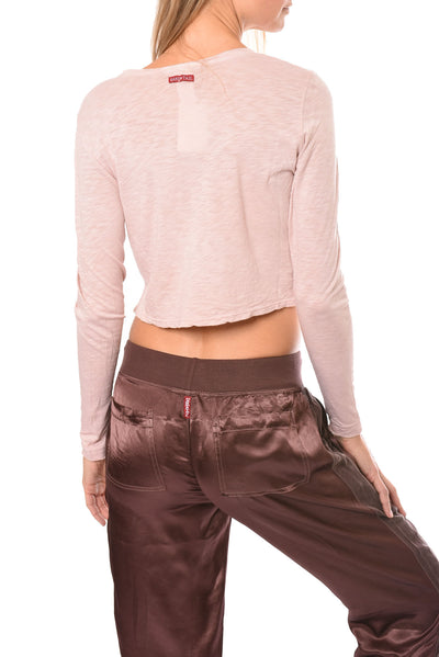 Hard Tail Forever - Long Sleeve Crop Top (SLUB-37, Crushed Rose) alt view 2