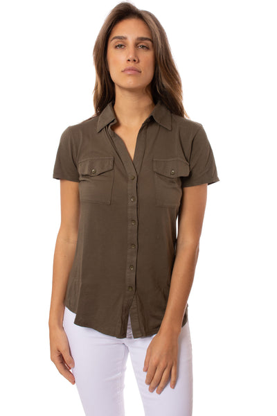 Bobi - Short Sleeve Button Front Shirt (53A-60045, Army Green)