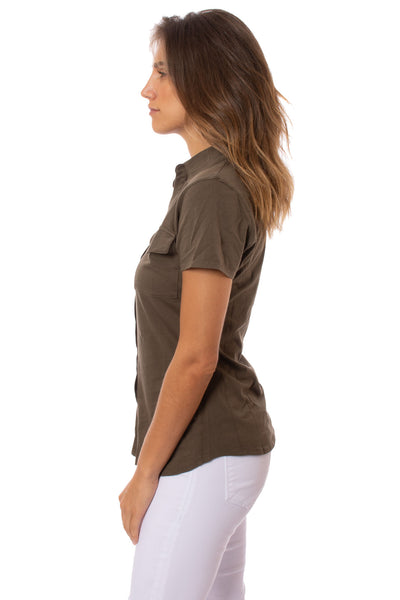 Bobi - Short Sleeve Button Front Shirt (53A-60045, Army Green) alt view 1