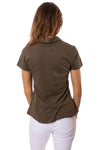 Bobi - Short Sleeve Button Front Shirt (53A-60045, Army Green) alt view 2