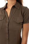 Bobi - Short Sleeve Button Front Shirt (53A-60045, Army Green) alt view 5