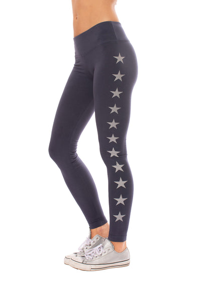 Hard Tail Forever - Flat Waist Ankle Legging W/Stars (W-452-505, Storm w/Silver Stars)