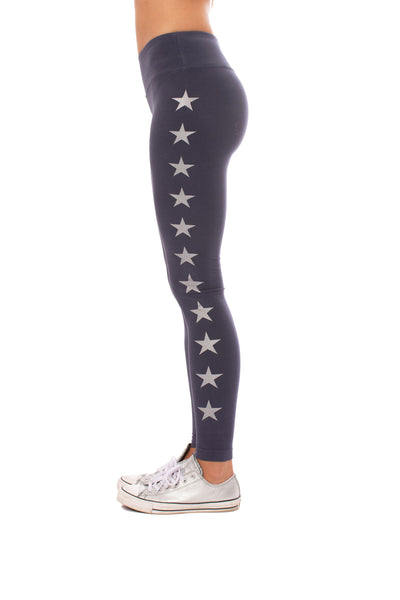 Hard Tail Forever - Flat Waist Ankle Legging W/Stars (W-452-505, Storm w/Silver Stars) alt view 1