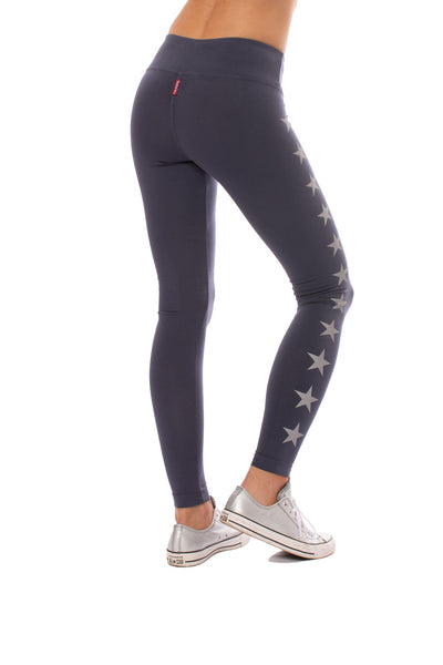 Hard Tail Forever - Flat Waist Ankle Legging W/Stars (W-452-505, Storm w/Silver Stars) alt view 2