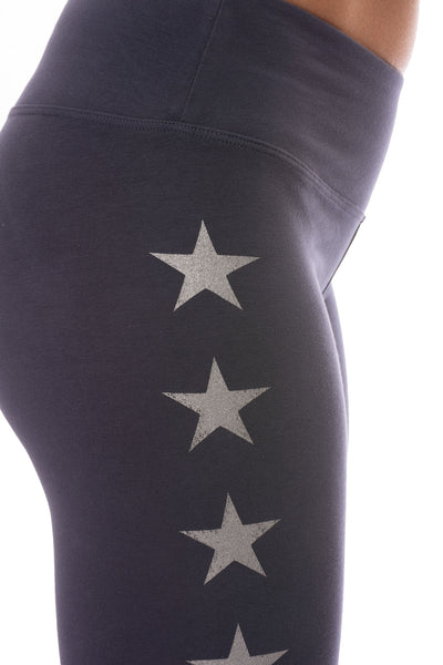 Hard Tail Forever - Flat Waist Ankle Legging W/Stars (W-452-505, Storm w/Silver Stars) alt view 4