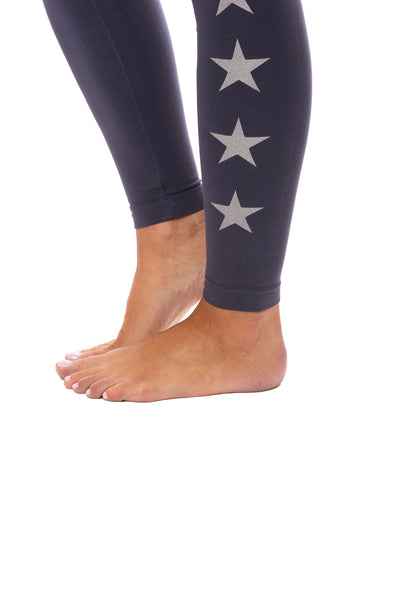 Hard Tail Forever - Flat Waist Ankle Legging W/Stars (W-452-505, Storm w/Silver Stars) alt view 6