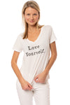 Sol Angeles - Love Yourself V Neck T (SW20-1127, Dark White)