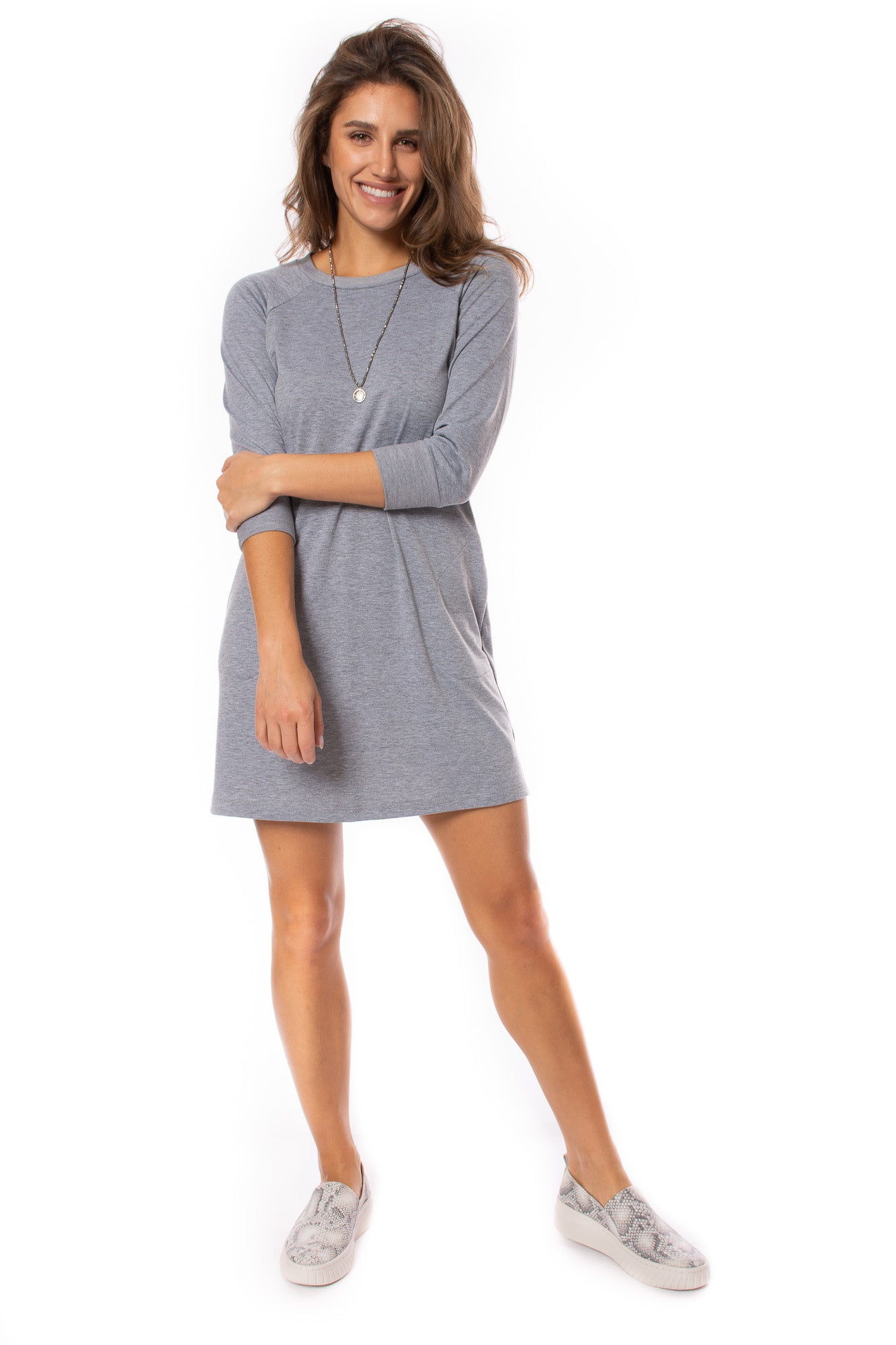 Veronica M. - Sweatshirt Dress (DSS-2597, Heather Gray)