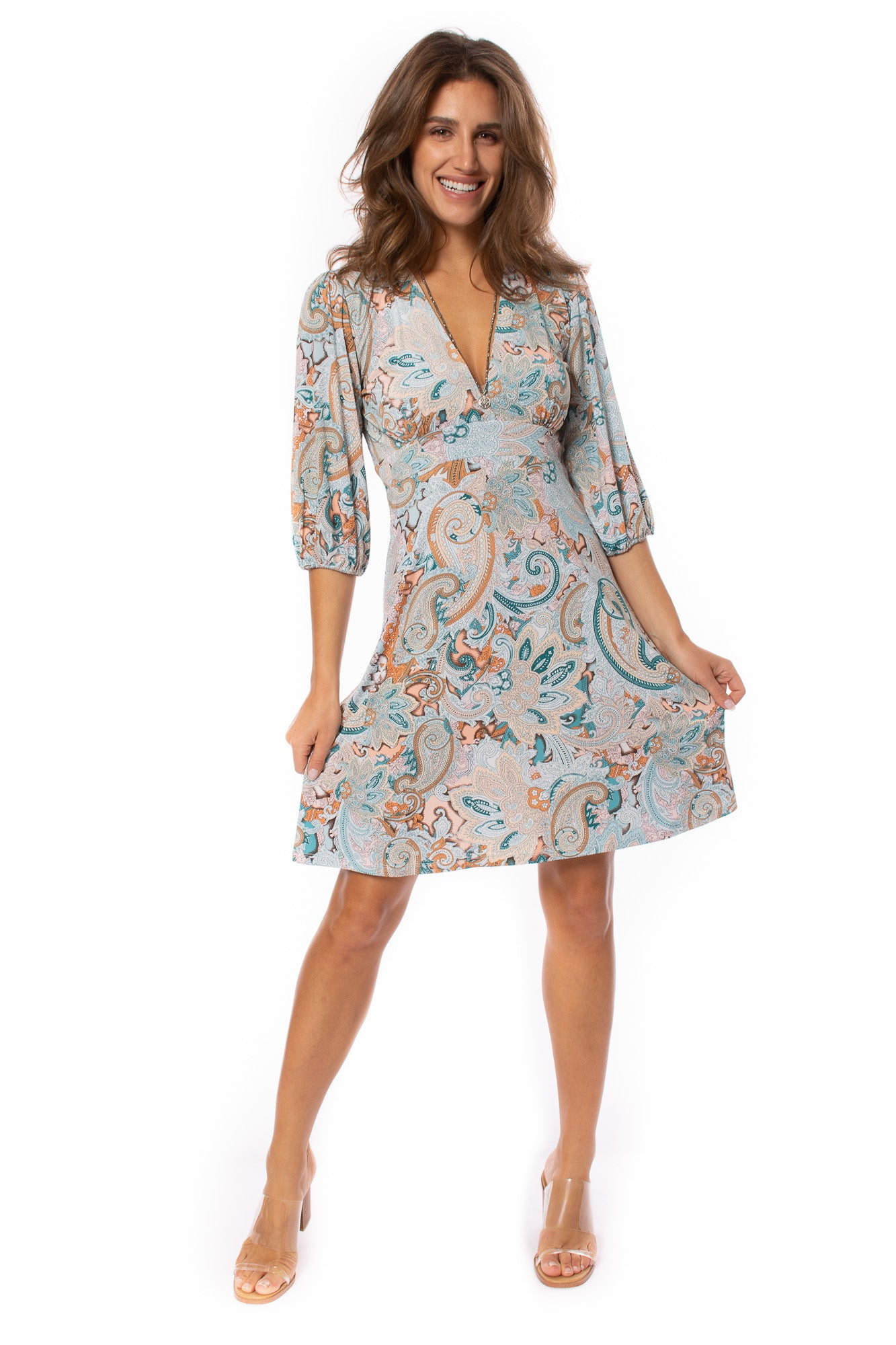 Veronica M. - V Neck 3/4 Sleeve Dress (DSS-2643, Ashlyn)