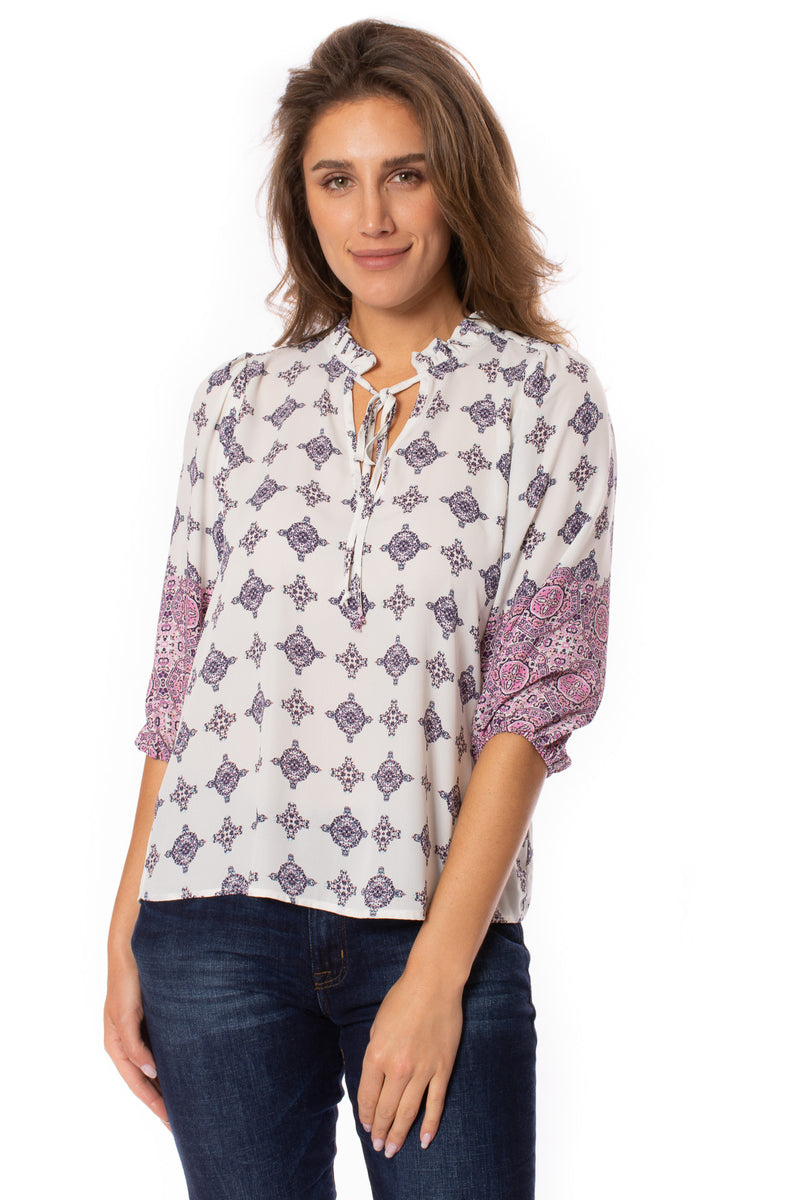 Veronica M. - Pleated V Neck 3/4 Sleeve Blouse (TF-1851, Cortland)