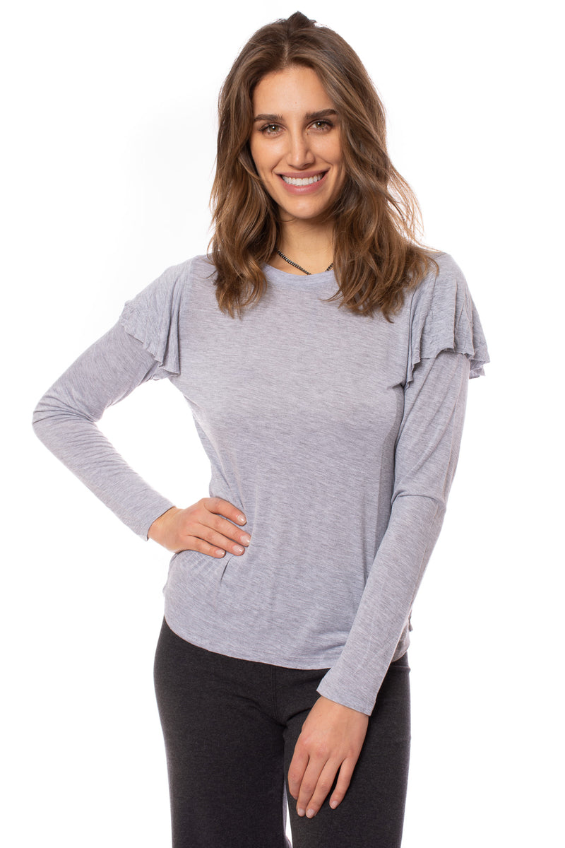 LA Made - Dulce Puffy Shoulder Shirt (CM1184, Heather Grey)