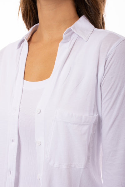 Bobi - Long Sleeve Button Down Shirt (51A-51147, White) alt view 5