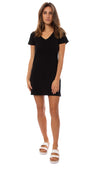 Bobi - Short Sleeve V Neck Dress (51A-36104, Black)