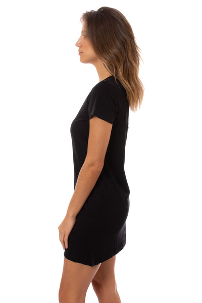 Bobi - Short Sleeve V Neck Dress (51A-36104, Black) alt view 1