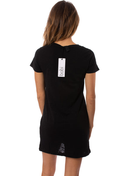 Bobi - Short Sleeve V Neck Dress (51A-36104, Black) alt view 2