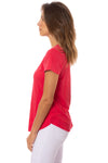 Bobi - V Neck Curved Hem (51A-26168, Chili) alt view 1