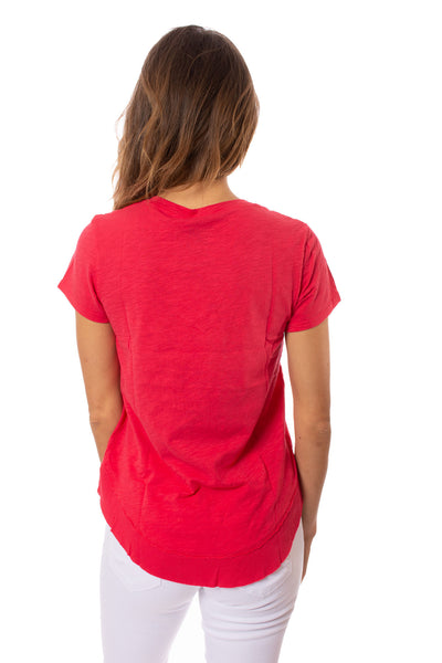 Bobi - V Neck Curved Hem (51A-26168, Chili) alt view 2
