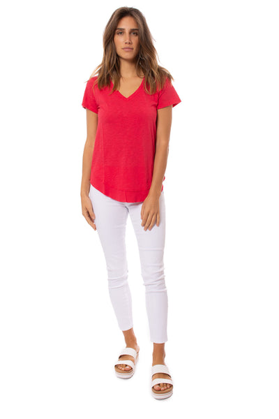Bobi - V Neck Curved Hem (51A-26168, Chili) alt view 5