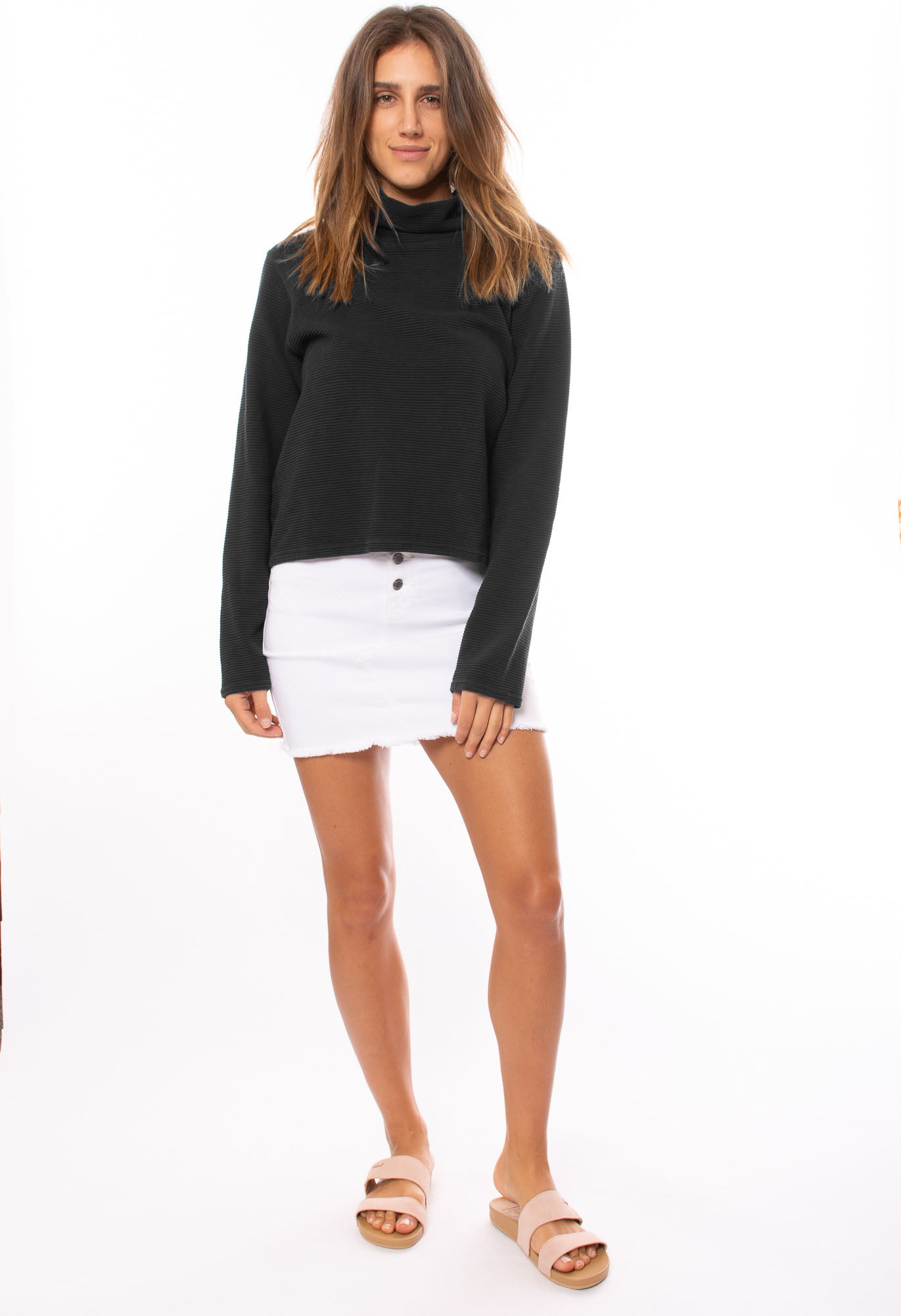 Hard Tail Forever - Cowl Neck Pullover (DL-14, Black)