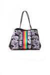 Haute Shore - Elite Neoprene Tote Bag W/Tethered Removable Wristlet (Greyson, Grey Camo w/Pink,Orange,Green,Blue Stripe)