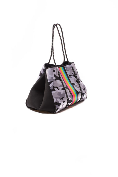 Haute Shore - Elite Neoprene Tote Bag W/Tethered Removable Wristlet (Greyson, Grey Camo w/Pink,Orange,Green,Blue Stripe) alt view 1