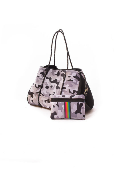 Haute Shore - Elite Neoprene Tote Bag W/Tethered Removable Wristlet (Greyson, Grey Camo w/Pink,Orange,Green,Blue Stripe) alt view 3