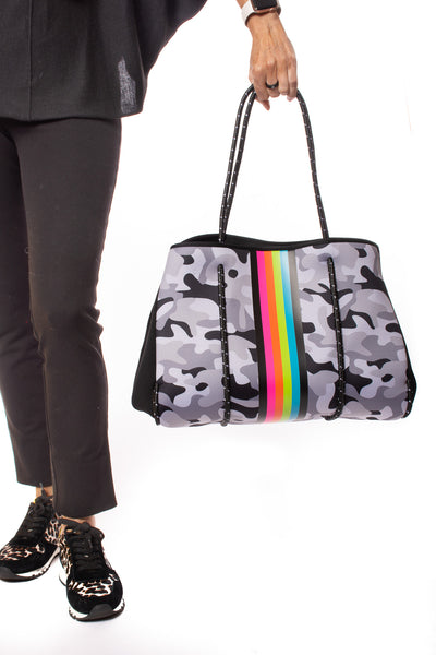 Haute Shore - Elite Neoprene Tote Bag W/Tethered Removable Wristlet (Greyson, Grey Camo w/Pink,Orange,Green,Blue Stripe) alt view 7