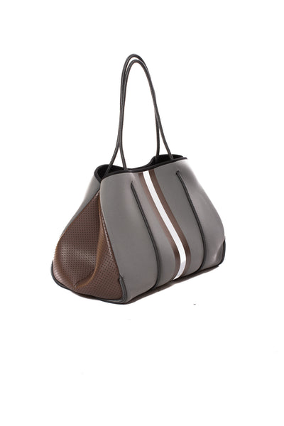 Haute Shore - Cocoa Neoprene Tote Bag w/Zipper Wristlet Inside (Greyson, Grey w/Brown & White Stripe) alt view 1