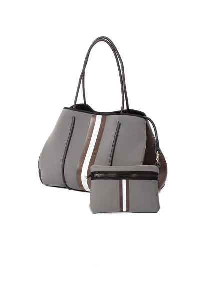 Haute Shore - Cocoa Neoprene Tote Bag w/Zipper Wristlet Inside (Greyson, Grey w/Brown & White Stripe) alt view 3
