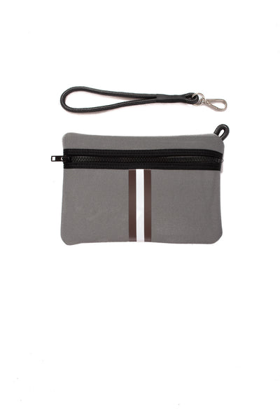 Haute Shore - Cocoa Neoprene Tote Bag w/Zipper Wristlet Inside (Greyson, Grey w/Brown & White Stripe) alt view 4