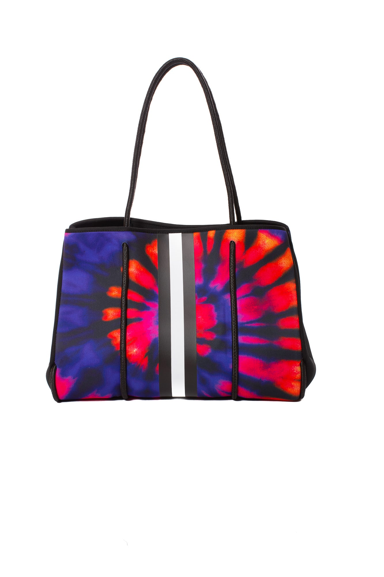 Haute Shore - Dreamer Neoprene Tote Bag w/Zipper Wristlet Inside (Greyson, Blue & Red Tie-dye w/Black & White Stripe)