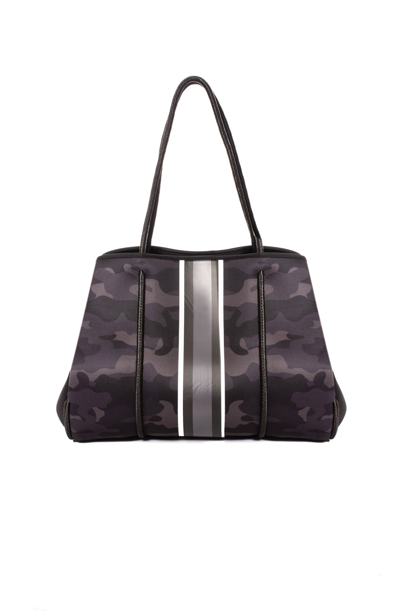 Haute Shore - Elite Neoprene Tote Bag w/Zipper Wristlet Inside (Greyson, Black Camo w/Black & White Stripe)