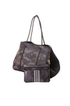 Haute Shore - Elite Neoprene Tote Bag w/Zipper Wristlet Inside (Greyson, Black Camo w/Black & White Stripe) alt view 3