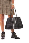 Haute Shore - Elite Neoprene Tote Bag w/Zipper Wristlet Inside (Greyson, Black Camo w/Black & White Stripe) alt view 7