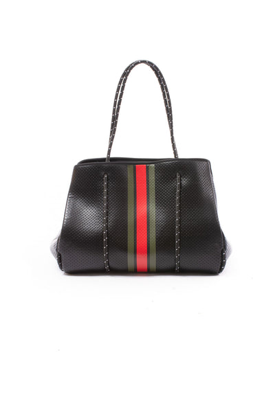Haute Shore - Bello Neoprene Tote Bag w/Zipper Wristlet Inside (Greyson, Black w/Green & Red Stripe)