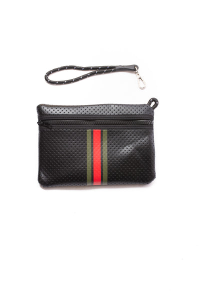 Haute Shore - Bello Neoprene Tote Bag w/Zipper Wristlet Inside (Greyson, Black w/Green & Red Stripe) alt view 4