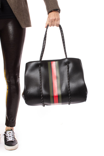 Haute Shore - Bello Neoprene Tote Bag w/Zipper Wristlet Inside (Greyson, Black w/Green & Red Stripe) alt view 7