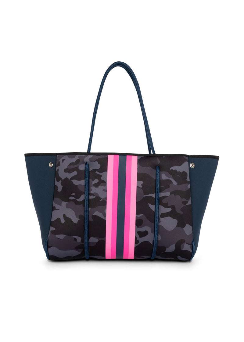 Haute Shore - Greyson Show-off Neoprene Tote Bag w/Zipper Wristlet Inside (Show-off, Camo Green w/Orange & Pink Stripe)