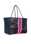 Haute Shore - Greyson Show-off Neoprene Tote Bag w/Zipper Wristlet Inside (Show-off, Camo Green w/Orange & Pink Stripe) alt view 3