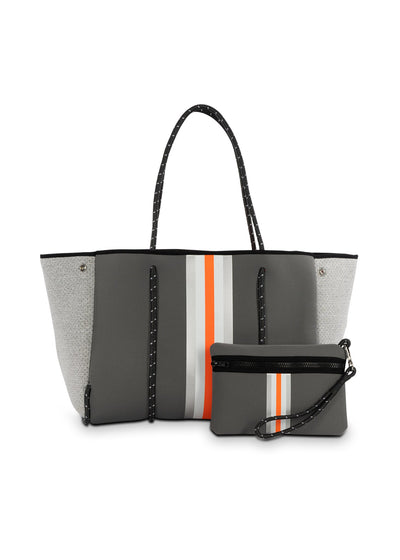 Haute Shore - Greyson Hip Neoprene Tote Bag w/Zipper Wristlet Inside (GREYSON, Steel Gray w/Silver, White, Orange Stripe & Heather Marle Sides)