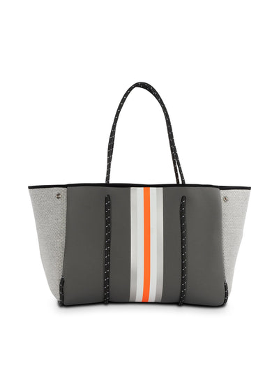 Haute Shore - Greyson Hip Neoprene Tote Bag w/Zipper Wristlet Inside (GREYSON, Steel Gray w/Silver, White, Orange Stripe & Heather Marle Sides) alt view 1