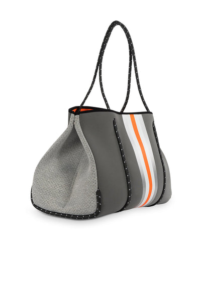 Haute Shore - Greyson Hip Neoprene Tote Bag w/Zipper Wristlet Inside (GREYSON, Steel Gray w/Silver, White, Orange Stripe & Heather Marle Sides) alt view 2