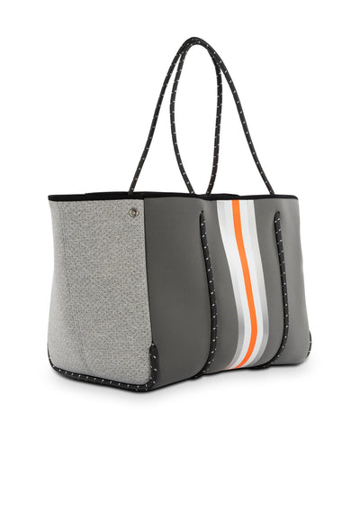 Haute Shore - Greyson Hip Neoprene Tote Bag w/Zipper Wristlet Inside (GREYSON, Steel Gray w/Silver, White, Orange Stripe & Heather Marle Sides) alt view 3