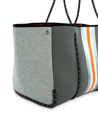 Haute Shore - Greyson Hip Neoprene Tote Bag w/Zipper Wristlet Inside (GREYSON, Steel Gray w/Silver, White, Orange Stripe & Heather Marle Sides) alt view 4